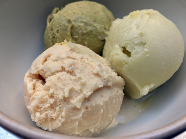 pistachio, peanut butter ice cream and apple sorbet at temper covent garden
