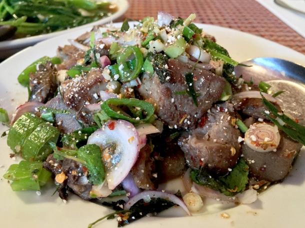 beef tongue salad at singburi