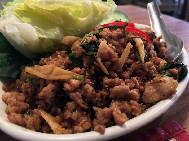 dry fried minced pork at singburi