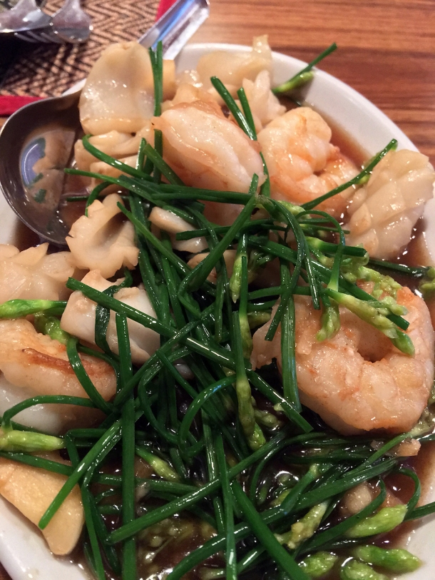prawns and squid with chives at singburi