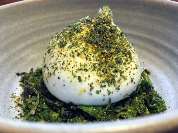 burrata with kale and seaweed at two lights