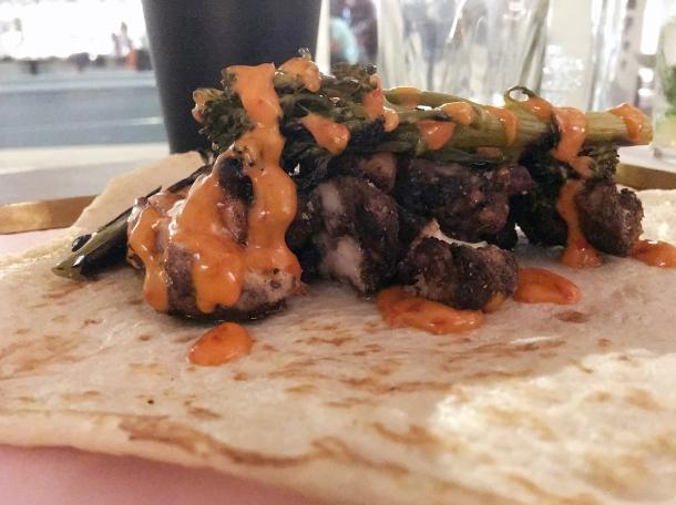 chicken shish kebab with broccoli at maison bab