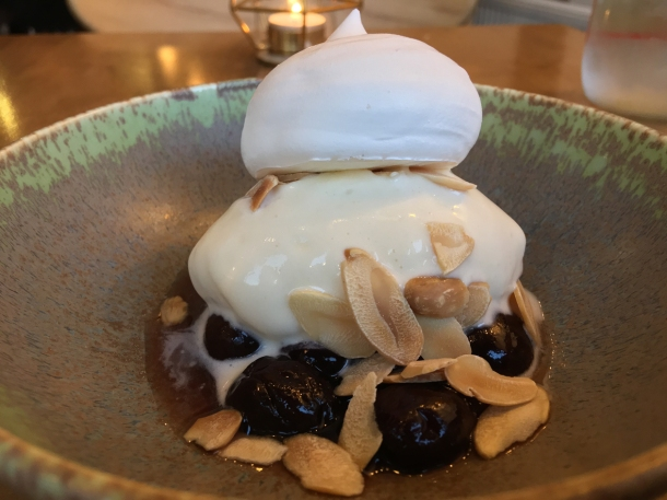 frozen merginue with cherries and almonds at 1251 islington