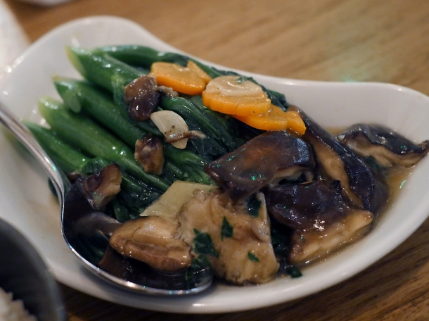 gai lan with shiitake at red farm covent garden