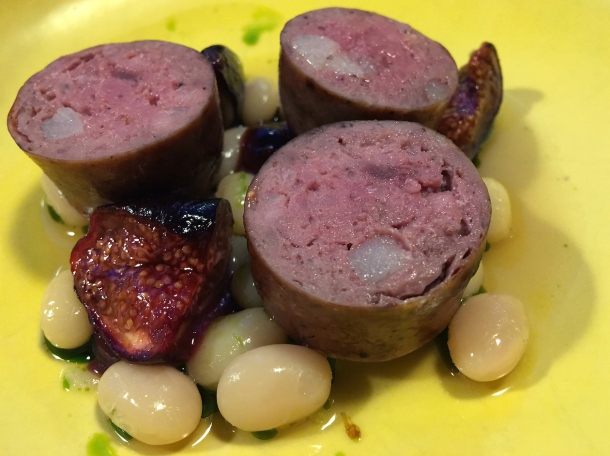 grouse sausage, beans and figs at two lights