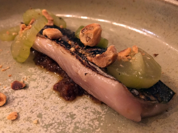mackerel with pickles and almonds at 1251 islington