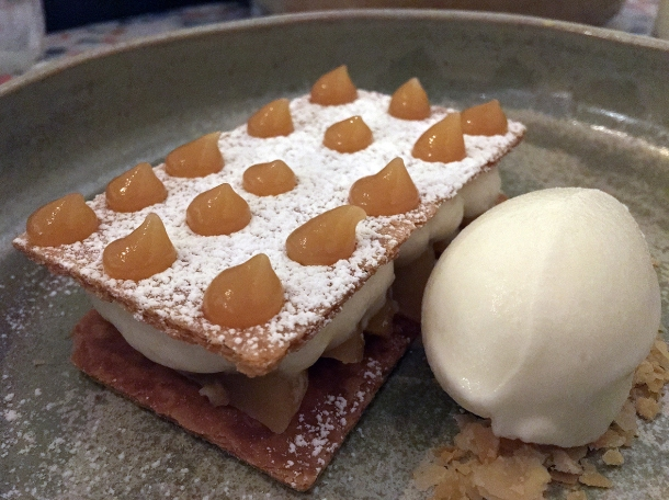 pear puff pastry with yoghurt sorbet at 1251 islington
