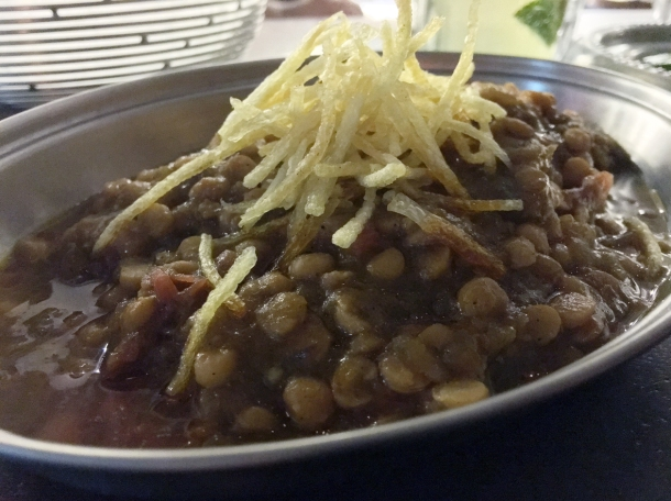 aubergine and split yellow pea stew at berenjak