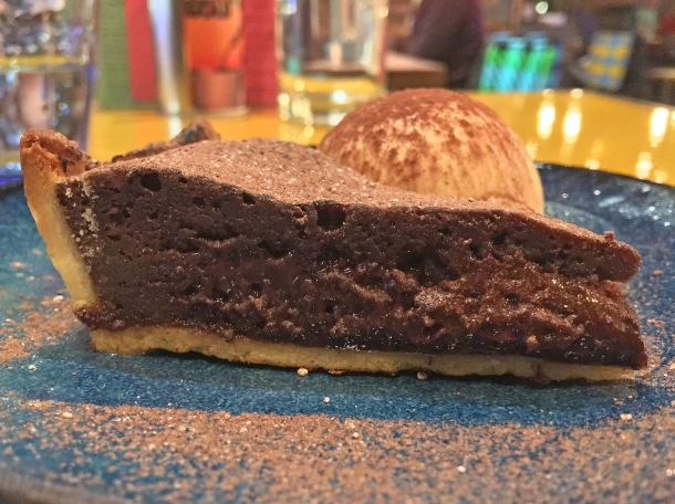 chocolate mole tart with salted caramel ice cream at casa pastor