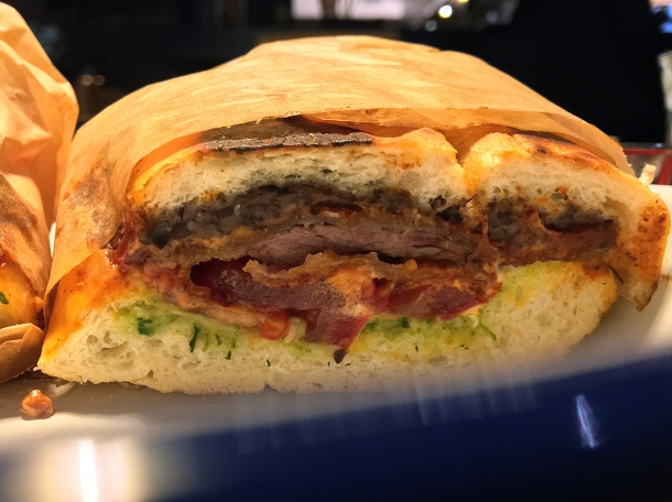flank steak milanese torta sandwich at plaza pastor