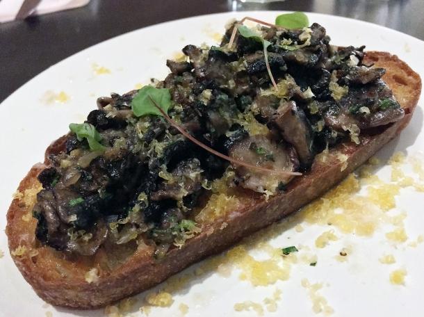 mushrooms and lardo on toast at burger and beyond