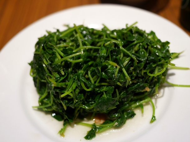 pea shoots in garlic at din tai fung covent garden
