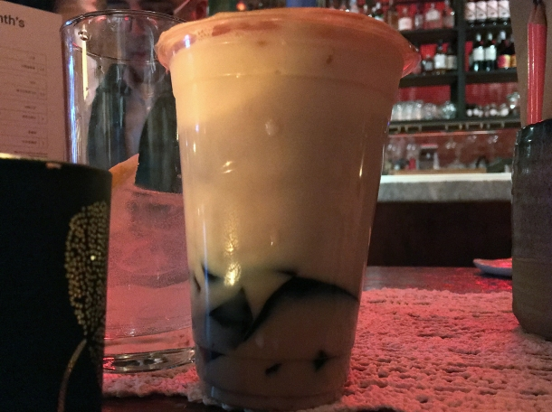 jasmine milk tea with black glass jelly at bao and bing