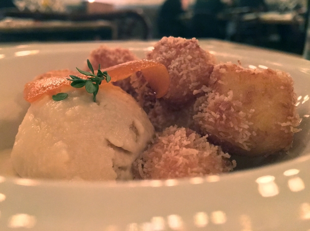 mini doughnuts, ice cream and candied orange at yeni
