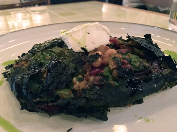 stuffed vine leaves with yoghurt at yeni