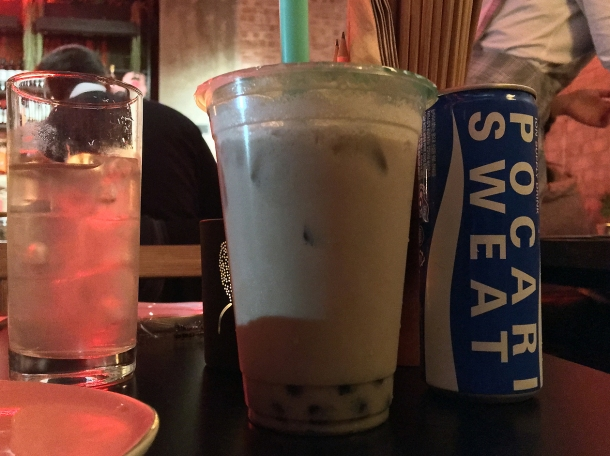 taro milk tea and Pocari Sweat at bao and bing