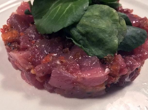 beef and tuna tartare at orasay notting hill