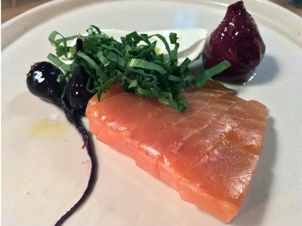 beetroot smoked salmon at orasay notting hill