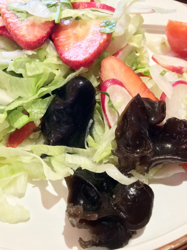 black fungus and strawberry house salad at master wei