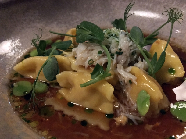 pork and crab agnolotti at orasay notting hill