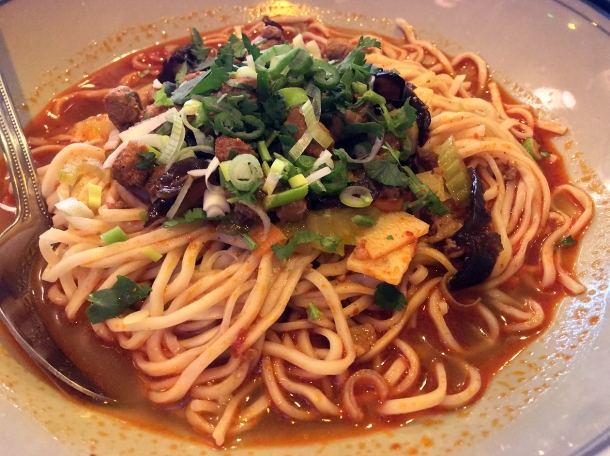 qishan hand-pulled noodles with pork in chilli sauce at master wei