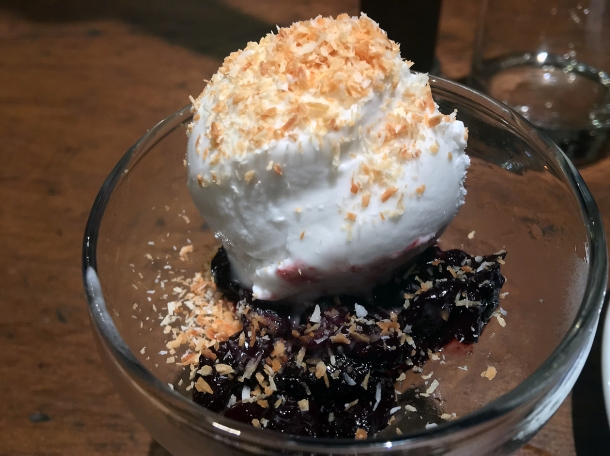copyrighted photo of the coconut ice cream with cherries at Barullo London