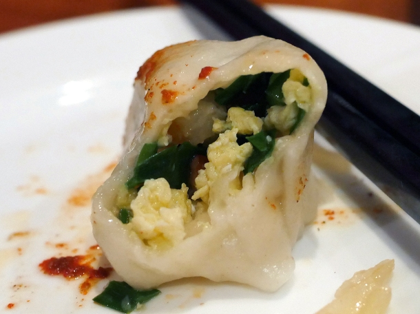 illustrative photo of the egg, leek and prawn dumpling at Silk Road Camberwell