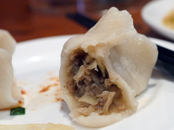 illustrative photo of a lamb and onion dumpling at Silk Road Camberwell