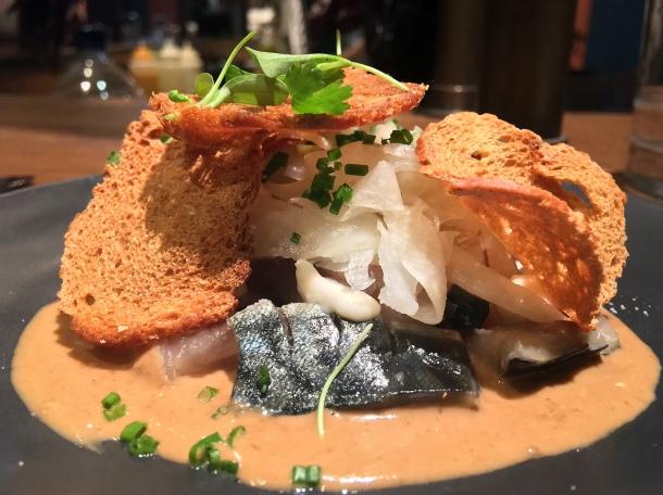 copyrighted photo of lightly smoked mackerel at Barullo London