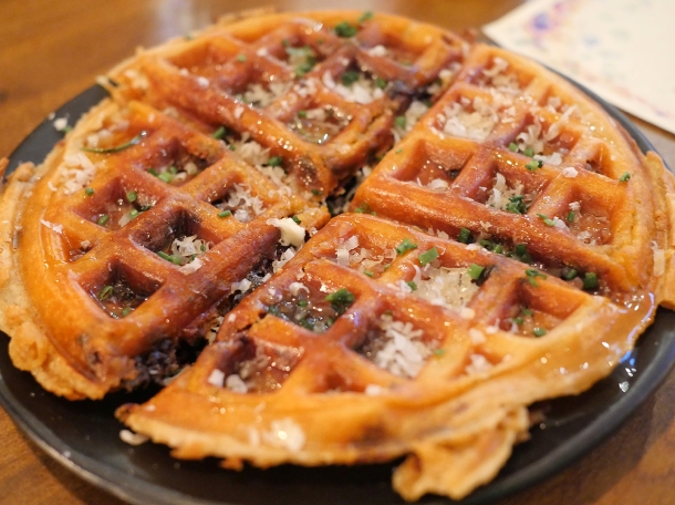 copyrighted photo of the morcilla and cheese waffle at Barullo London