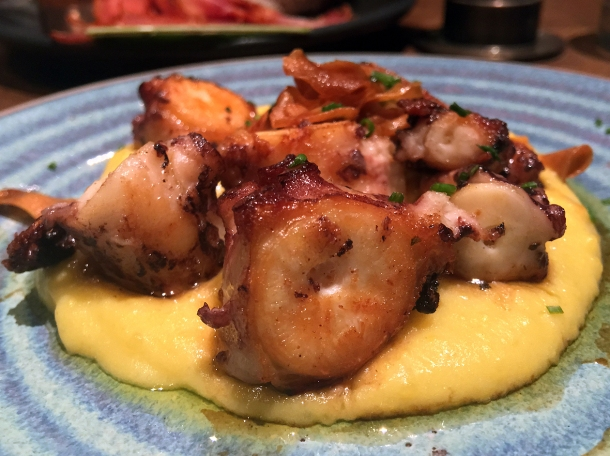 copyrighted photo of octopus with saffron potato at Barullo London