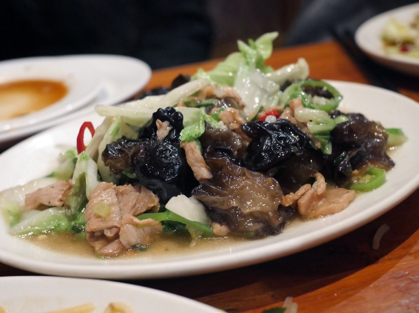 illustrative photo of the pork with black fungus at silk road camberwell