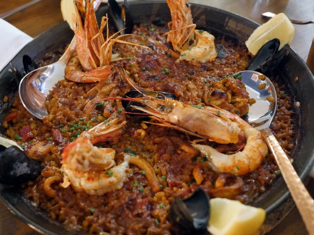 copyrighted photo of the seafood paella at Barullo London