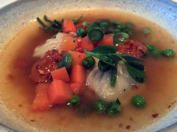 illustrative photo of the chicken momos in vegetable soup from the tasting menu at Kanishka
