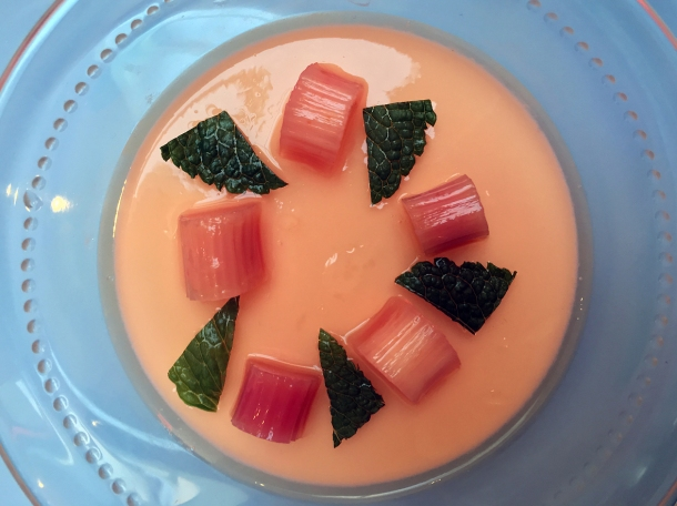illustrative photo of the rhubarb and mint panna cotta at Myrtle