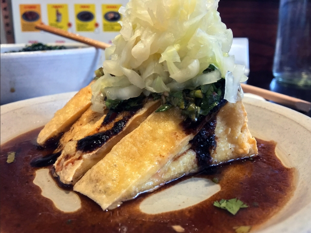 illustrative photo of the tofu with pickled cabbage at Bao Borough