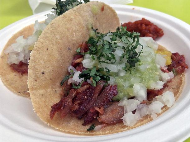 illustrative photo of the al pastor tacos from Super Gringas and Guacamole at Mercato Metropolitano