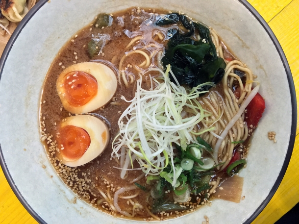 illustrative photo of the aubergine miso ramen from Juzu at Mercato Metropolitano