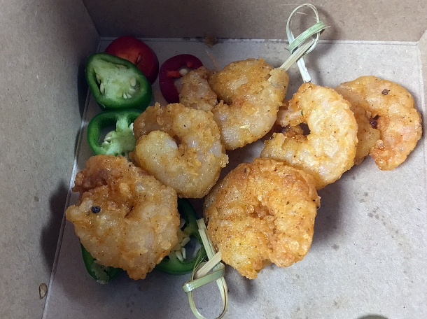illustrative photo of the battered fried shrimp from Juici Jerk at Mercato Metropolitano Southwark