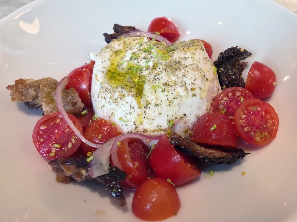 illustrative photo of the burrata and tomato panzanella at Flor
