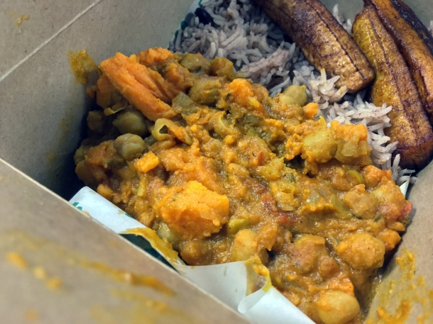 illustrative photo of the chickpea and sweet potato curry from Juici Jerk at Mercato Metropolitano Southwark