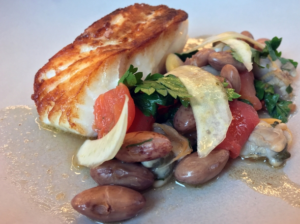 illustrative photo of the cod with borlotti beans at Wild Honey St James