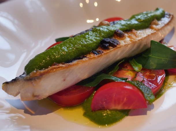 illustrative photo of the mackerel with tomatoes and green sauce at Siren at The Goring Hotel