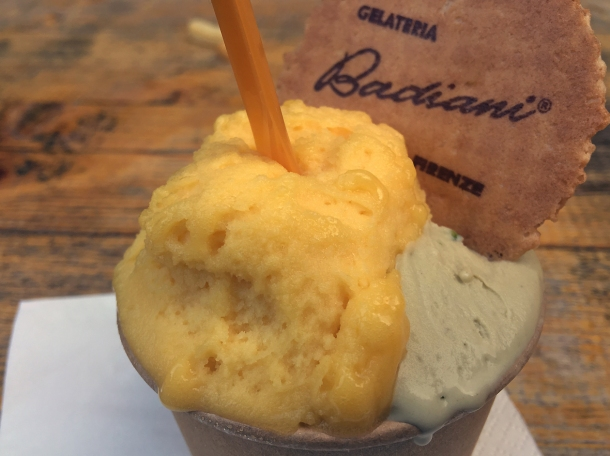 illustrative photo of the passion fruit sorbet and pistachio gelato from Badiani at Mercato Metropolitano