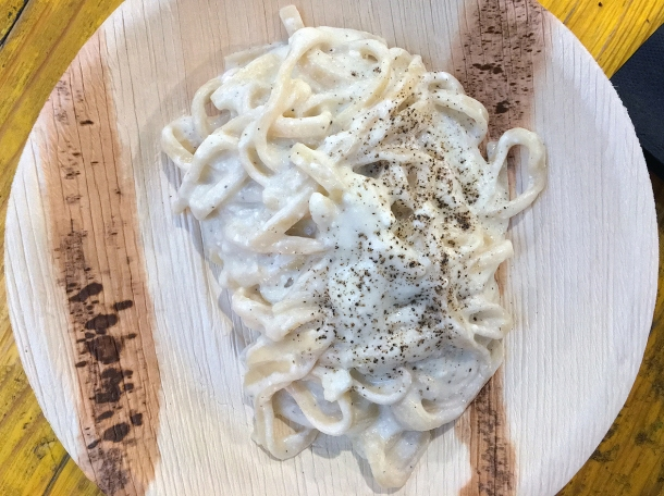 illustrative photo of the pici cacio e pepe from La Trattoria del Mercato at Mercato Metropolitano