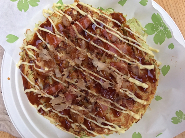 illustrative photo of the pork and shrimp okonomiyaki from Maido at Mercato Metropolitano Southwark