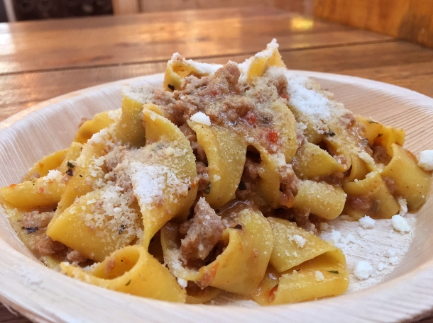 illustrative photo of the sausage ragu pappardelle from La Trattoria del Mercato at Mercato Metropolitano