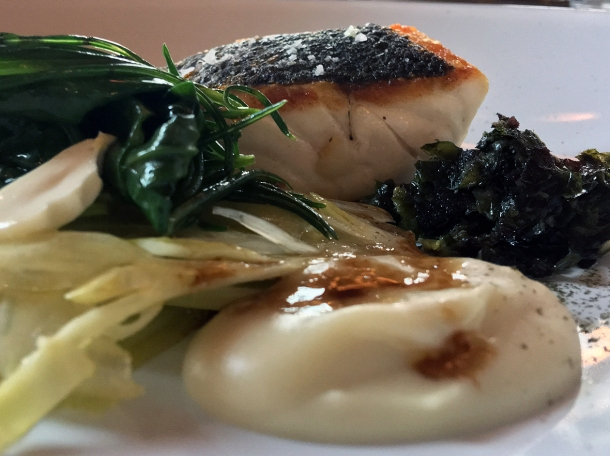 illustrative photo of the sea bass with vegetables at Wild Honey Sofitel