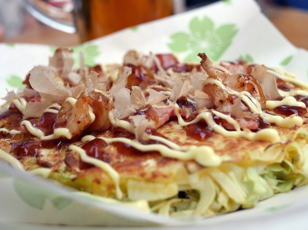 illustrative shrimp and bacon okonomiyaki from maido at mercato metropolitano southwark
