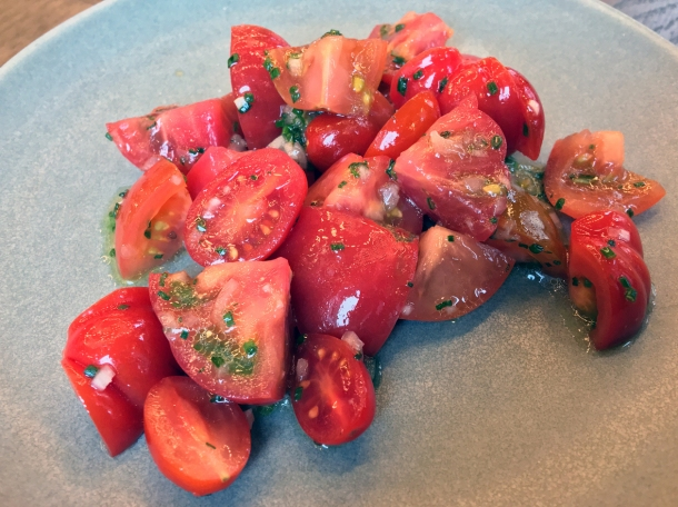 illustrative photo of the tomato and shallot salad at Wild Honey St James